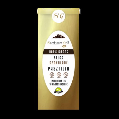100% kakaótartalmú prémium belga étcsokoládé pasztilla, 250g